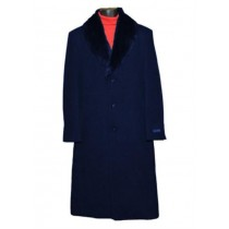 Single Breasted Dark Blue Fur Collar 3 Button Full Length Overcoat
