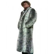 mens full length faux fur coat Notched lapel Gray with side pocket