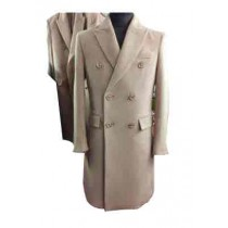 Double Breasted Peak Lapel 6 Buttons Beige mens long wool overcoat