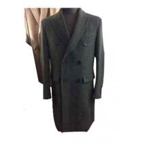 Double Breasted Peak Lapel 6 Buttons Olive Wool Overcoat
