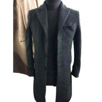 Three Buttons Olive Peak Lapel Single Breasted Wool Overcoat