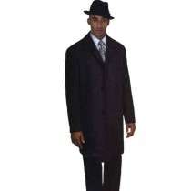 Wool Blend Long Charcoal Grey Hidden Button Overcoat 40 Inch