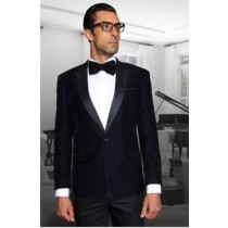 Navy One Button Velvet Fabric Sportcoat Jacket
