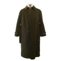 Full Length Belted Waist Center Vent Raincoat - Brown