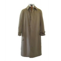 Full Length Tan Raincoat with Five Front Buttons & Center vent