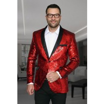 Mens Paisley Blazer Slim Fit Red Sport Coat