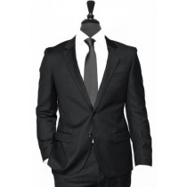 Alberto Nardoni Black Two Button Vested Linen Wedding Suit