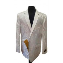 Alberto Nardoni white Dress Coat Paisley Pattern Floral Sportcoat