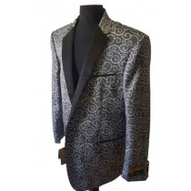 Alberto Nardoni Charcoal  Men's Shiny Paisley Jacket