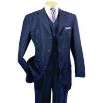 Alberto Nardoni Navy Three Buttons Pinstripe Wool Suit