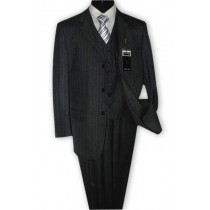 Alberto Nardoni Charcoal Grey Notch Lapel Wool Suit