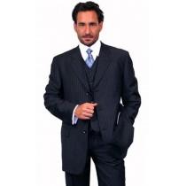 Alberto Nardoni Navy Blue Pinstripe Pattern Wool Suit