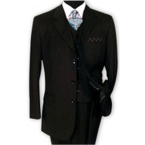 Alberto Nardoni Black Three Buttons Vested Wool Suits