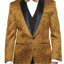 Alberto Nardoni Gold Paisley Sequin Blazer Tuxedo Suit