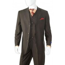 Alberto Nardoni Black Shadow Stripe Vested Suit