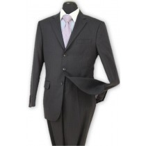 Alberto Nardoni Black Pleated Pants Stripe Wool Suit