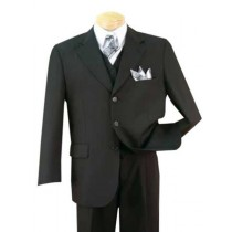 Alberto Nardoni Black Three Buttons Notch Lapel Suits