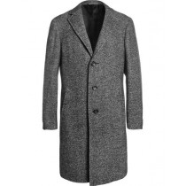 mens herringbone overcoat Single breasted Tweed Grey Full Length - MensTopcoat