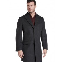 Men's Single Breasted 2 Button Charcoal Peak Lapel Car coat
