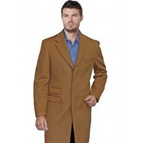 Men's Light Camel Single Breasted Notch Lapel Car coat