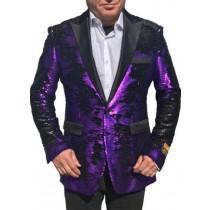 Alberto Nardoni Purple Shiny Sequin Black Lapel