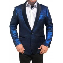 ROYAL BLUE BLACK SHAWL LAPEL TUXEDO