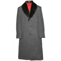 Men's Fur Collar Charcoal Grey 3 Button Single Breasted Wool Full Length Overcoat