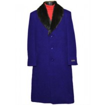 Men's Fur Collar Saphire Blue 3 Button Single Breasted Wool Full Length Overcoat