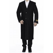Mens Black Alberto Nardoni Full Length Wool Dress Overcoat