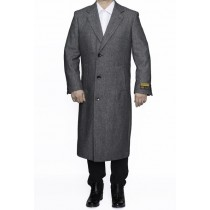 Mens Full Length Wool Dress Top Coat / Overcoat in Grey Herringbone