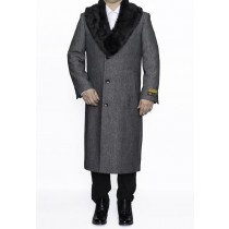 Mens Removable Fur Collar Full Length Wool Herringbone Grey Dress Top Coat / Overcoat