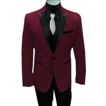 Single Breasted Burgundy Alberto Nardoni Peak Lapel