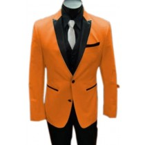 Orange Alberto Nardoni Single Breasted Peak Lapel