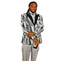 Mens Gray ~ white ~ black Fashion Jacket