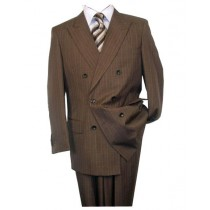 Brown Button Closure Peak Lapel Alberto Nardoni Wool Suit