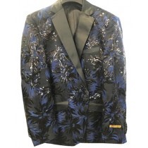 Single Breasted Black Floral Pattern Alberto Nardoni Suit