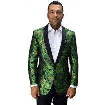 Mens lime Apple Green Single Breasted Shawl Lapel Blazer
