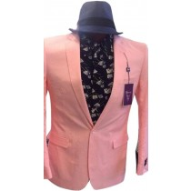MENS BLAZER NOTCH LAPEL PINK SINGLE BREASTED COAT