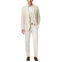 Two Button Alberto Nardoni Natural Linen Suit Overcoat
