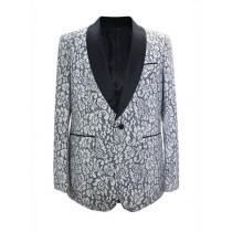 White Paisley Pattern Alberto Nardoni Sport Coat Blazer