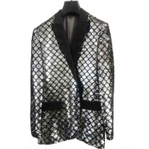 Mens Single Breasted Black Peak Lapel Blazer