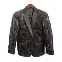 Mens Single Breasted Brown Peak Lapel
