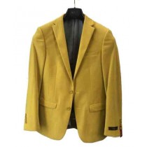 Mens Yellow Two Button Notch Lapel Single Breasted