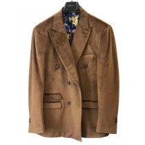 Mens Velvet Coffee Brown Fashion Casual Jacket