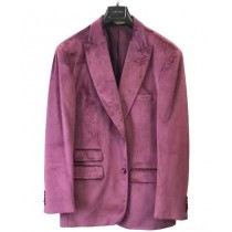 Mens Velvet Dark Lavender Light Purple Casual Jacket