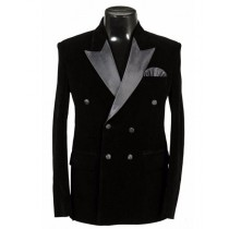 Double Breasted Velvet Dinner Jacket Tuxedo Blazer Sport Coat