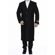 "Mens Black Full Length 48"" Long Big And Tall Overcoat - Mens Topcoat"