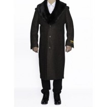 "Mens Big And Tall Brown Full Length 48"" Long Overcoat"
