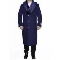 Mens Indigo Blue Big And Tall Notch Lapel Overcoat - Mens Topcoat