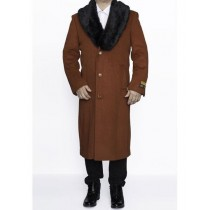 Mens Rust three Button Notch Lapel Big And Tall Overcoat